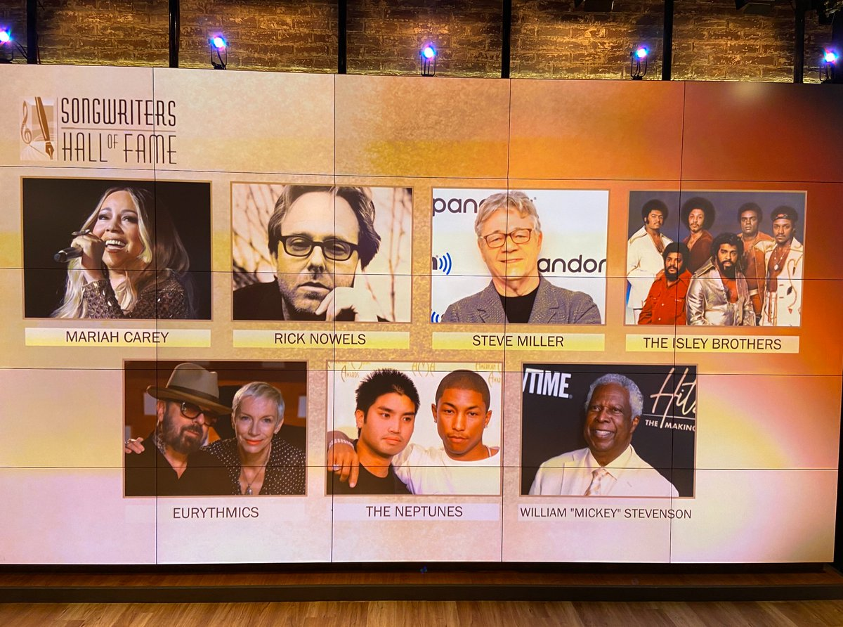 """EXCLUSIVE: Revealing the @SongwritersHOF Class of 2020! 🎼 🎵Steve Miller (@SMBofficial) 🎵The Neptunes (@Pharrell & @ChadHugo) 🎵Rick Nowels 🎵The Eurythmics (@AnnieLennox & @DaveStewart) 🎵William """"Mickey"""" Stevenson 🎵The Isley Brothers 🎵@MariahCarey"""
