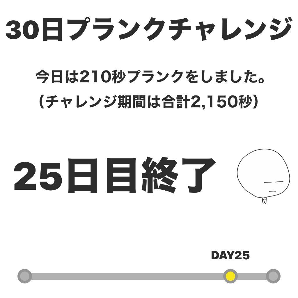休みが待ち遠しくなってる…(笑)#プランクチャレンジ 25日目終了! 今日は210秒プランクをしました。 #30日チャレンジ