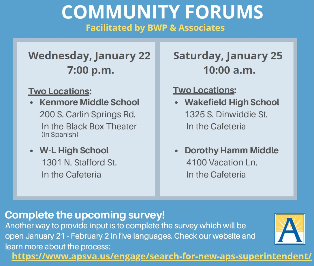 The School Board invites you to participate in one of the four Community Forums facilitated by BWP & Associates to share your input on desired qualifications for the new superintendent.   More information at <a target='_blank' href='https://t.co/LhRhKUtuQV'>https://t.co/LhRhKUtuQV</a> <a target='_blank' href='https://t.co/0kUWeOQWT0'>https://t.co/0kUWeOQWT0</a>