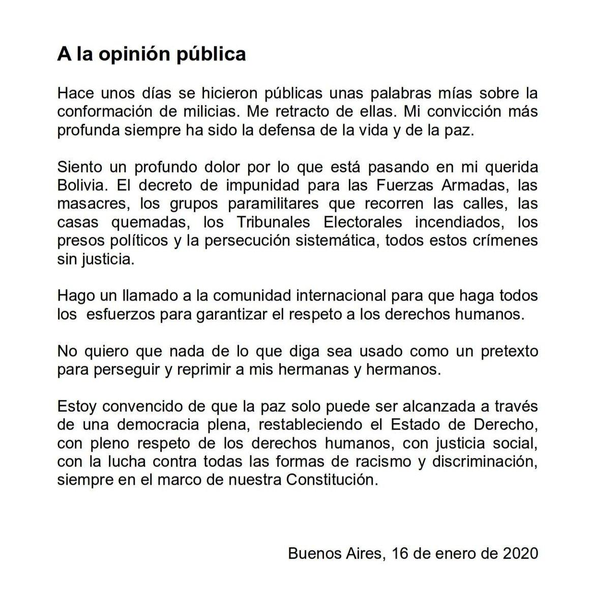 Evo Morales retracts call for 'armed militias' in Bolivia