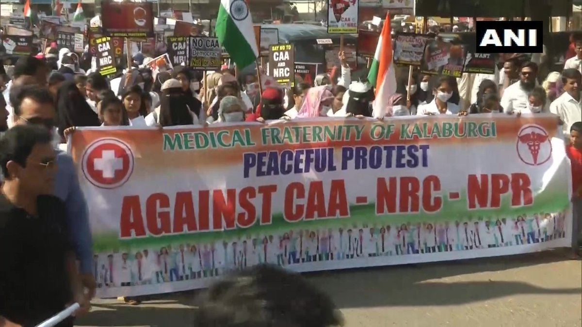 #Karnataka | Members of medical fraternity protest #CAA, #NRC and #NPR in Kalaburagi today. (Images: ANI)More on http://ndtv.com  and NDTV 24x7