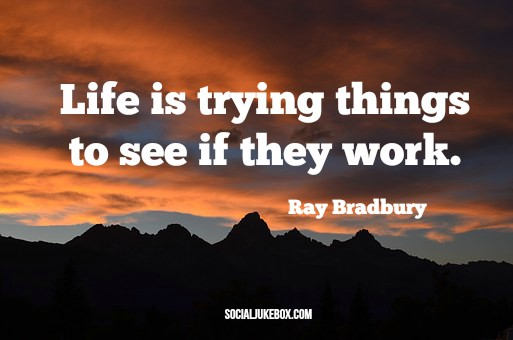 Life is trying things to see if they work.  -Ray Bradbury #quote