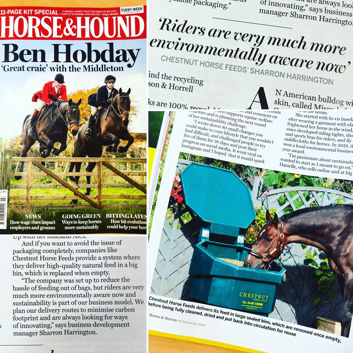 Great feature on sustainability in this weeks @horseandhound featuring the CHF bulk bins alongside some great innovative businesses making a difference in the equine industry #chestnuthorsefeeds #sustainability #horseandhound #feedthechestnutway #reduceplasticwaste #horsefeedpic.twitter.com/fwwibmhFDC