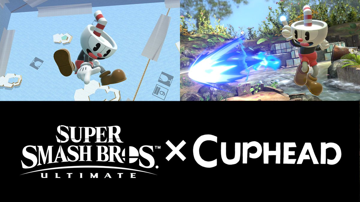A brawl is surely brewing! Cuphead is joining Super Smash Bros. Ultimate as a downloadable Mii Gunner Costume!! Available for purchase on 1/28, including the music track Floral Fury.  Our deepest thanks to @Sora_Sakurai and Nintendo for this unbelievable opportunity! https://t.co/1VWxO7XGxc