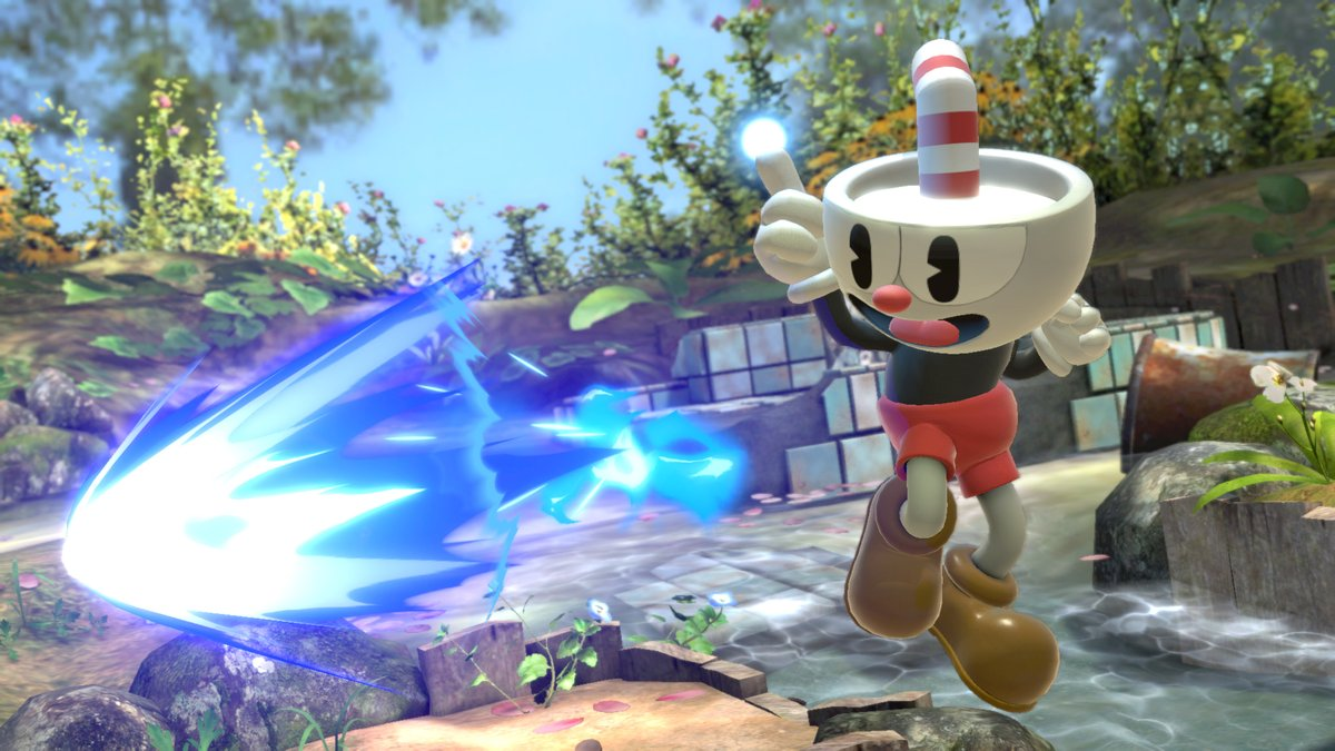 "It's on! The #Cuphead Mii Fighter costume and additional song, ""Floral Fury"", will be available for purchase on 1/28. #SmashBrosUltimate"