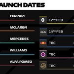 2020 LAUNCH DATES  So far, 4/10 teams have declared...  #F1