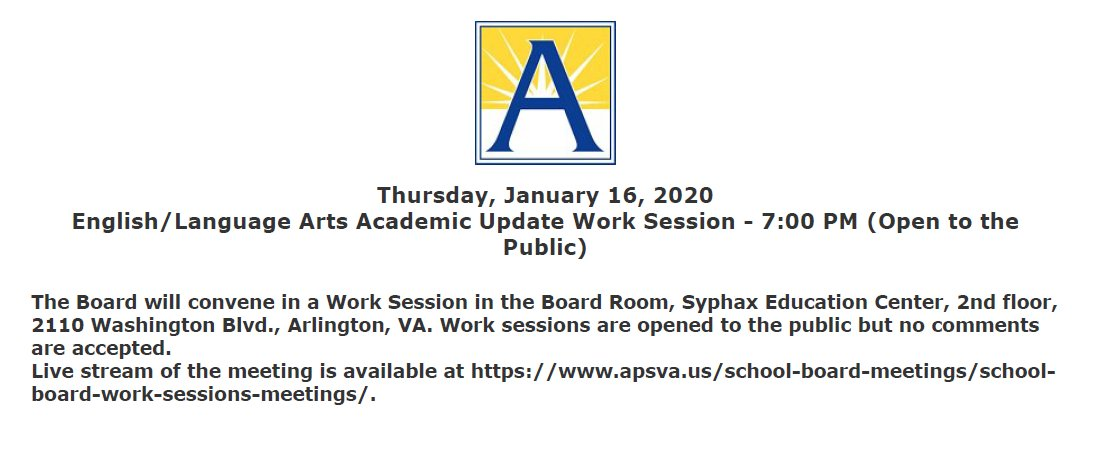 1/16 School Board Work Session on English/Language Arts Academic Update agenda and background documents will be posted at <a target='_blank' href='https://t.co/pKXLZ3GvDH'>https://t.co/pKXLZ3GvDH</a>  Watch the work session live at <a target='_blank' href='https://t.co/5LFpkTV8cw'>https://t.co/5LFpkTV8cw</a> <a target='_blank' href='https://t.co/FsIu1Fnzch'>https://t.co/FsIu1Fnzch</a>