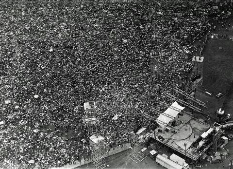 Aerial view of Woodstock, 1969