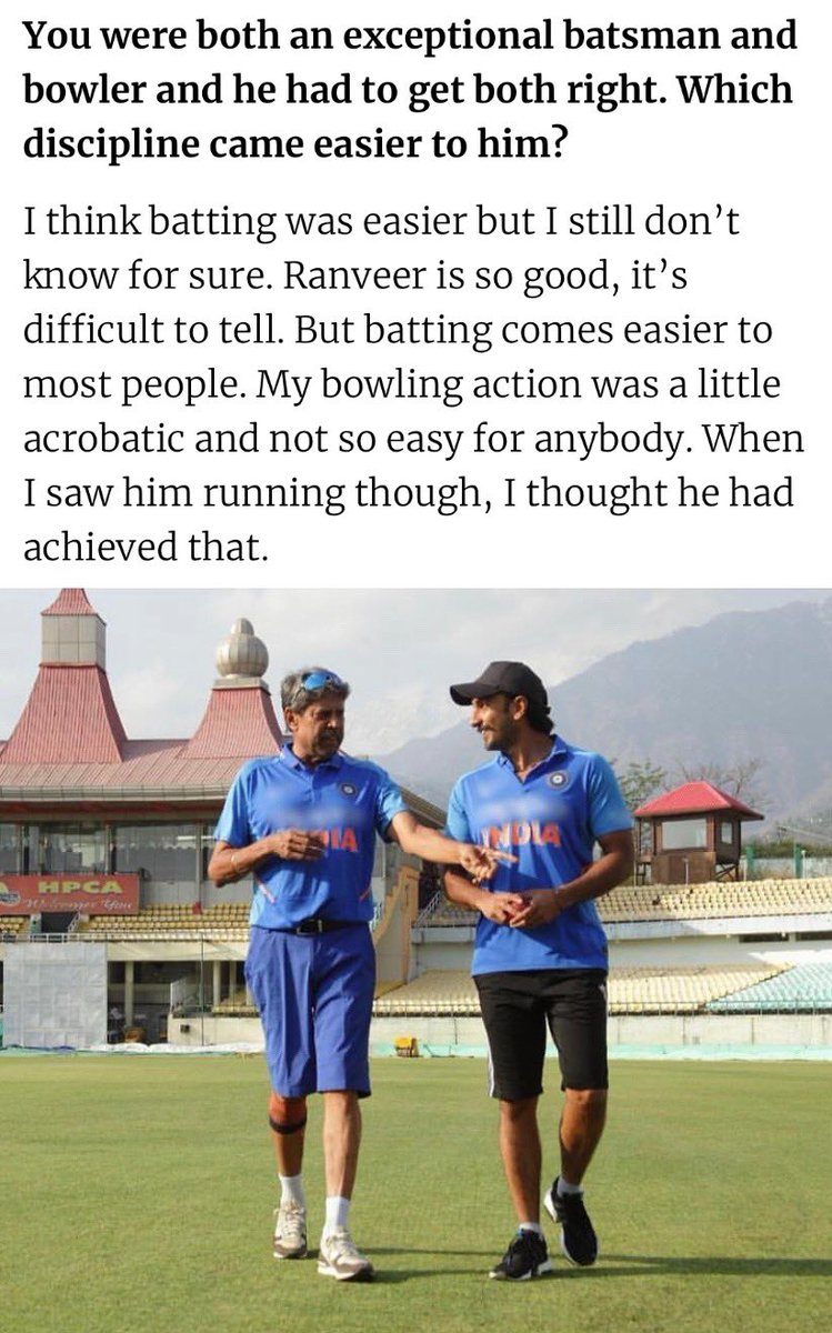 """""""I think batting was easier for him but I still don't know for sure. Ranveer is so good, it's difficult to tell. My bowling action was a little acrobatic and not so easy for anybody. When I saw him running though, I thought he had achieved that.""""- Kapil Dev <br>http://pic.twitter.com/Is6fCTW8wz"""