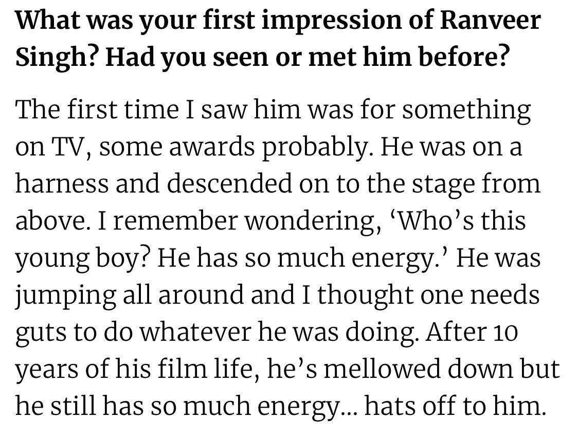 """""""The first time I saw Ranveer was for something on TV, some awards probably. I remember wondering, 'Who's this young boy? He has so much energy.' After 10 years of his film life, he's mellowed down but he still has so much energy... hats off to him.""""- Kapil Dev (The Telegraph) <br>http://pic.twitter.com/PZGGUUqli1"""