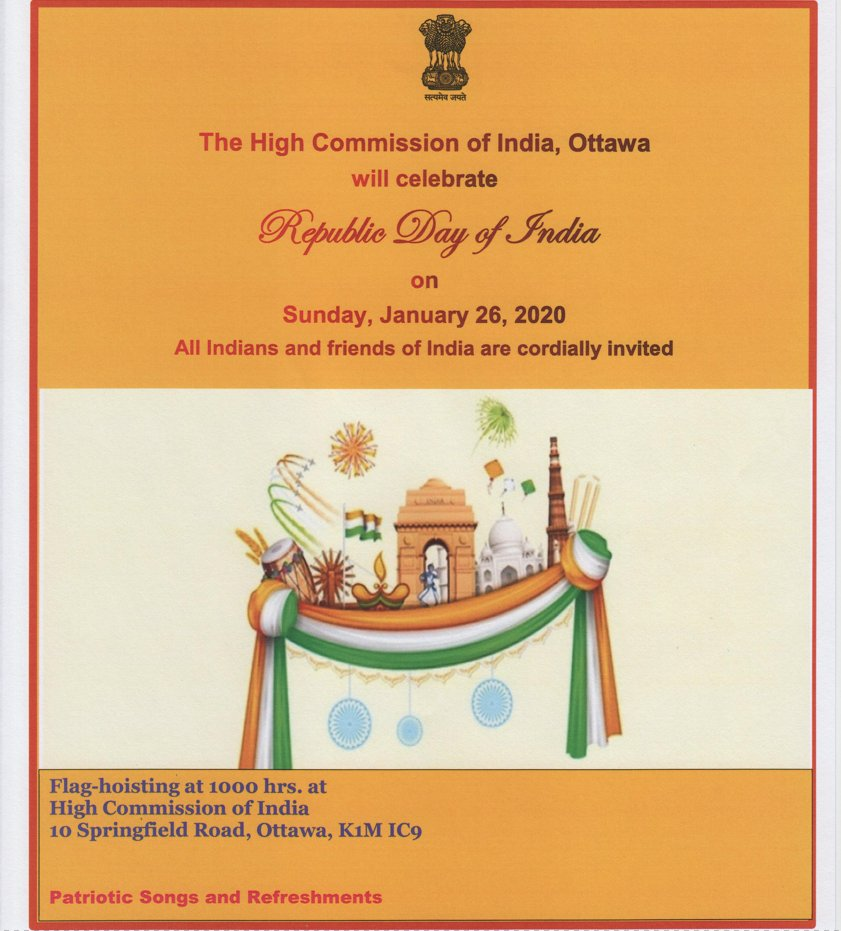 "High Commission of India, Ottawa cordially invites all Indians & Friends of India to a flag hoisting ceremony to mark ""71st Republic Day of India"" on January 26, 2020. Save the date! #71RepublicDayofIndia #RepublicDay #RepublicDay2020"