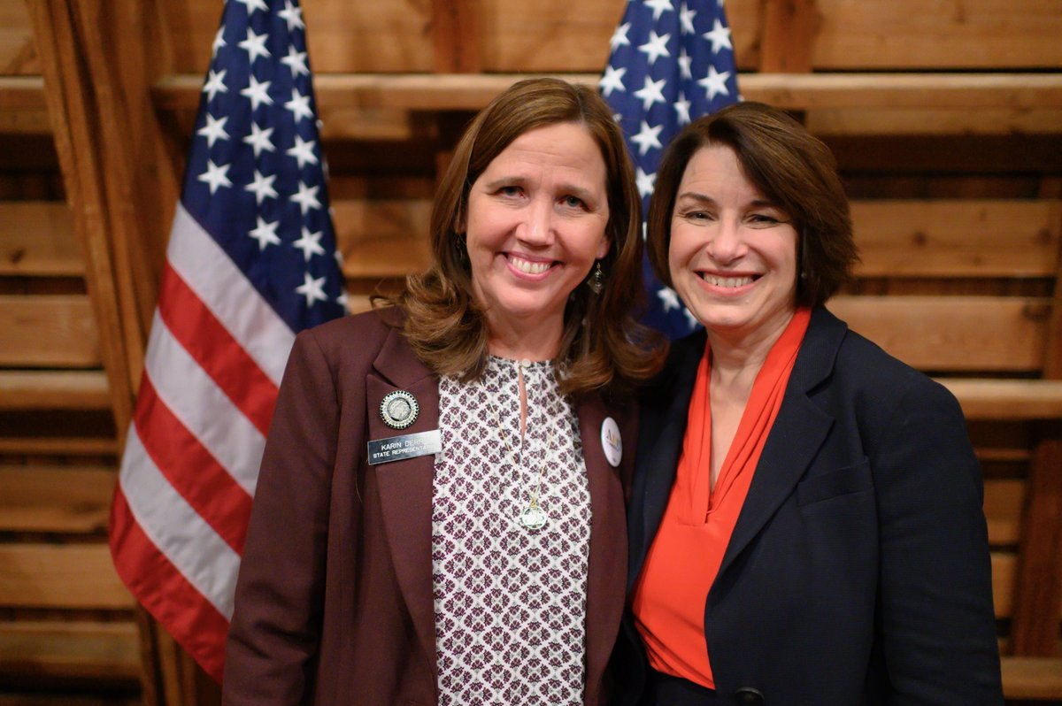 We are thrilled to add another endorsement for @AmyKlobuchar! Thank you Rep. @KarinDerry4Iowa for all of the support! #IACaucus <br>http://pic.twitter.com/mBibGNEHGb