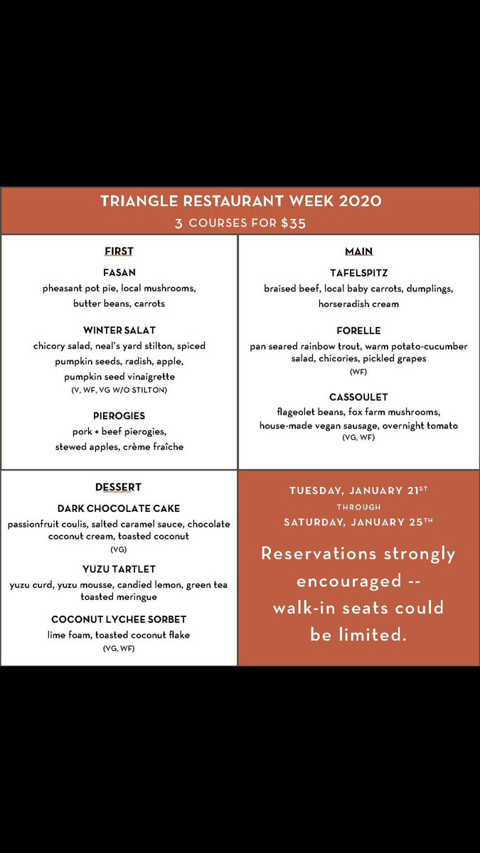 Triangle restaurant week is almost here! Next week this exciting 3 course dinner menu will be available for you to enjoy.  #trianglerestaurantweek #biergarten #eatlocalpic.twitter.com/gmC3HgIlWt