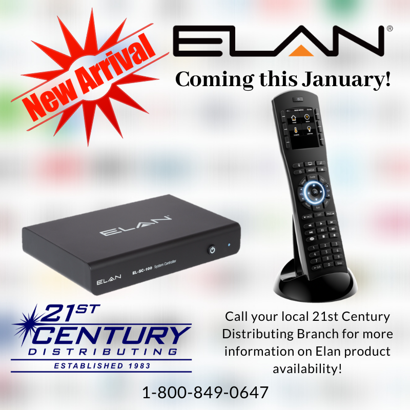 Coming this January, 21st Century Distributing will be assorting Elan Home System products! Keep an eye out for dealer emails on when this great new integration system is available and training dates! #21stcenturydistributing #21stcenturydist #custominstall #ci #cediapic.twitter.com/5TxEbaVVkf