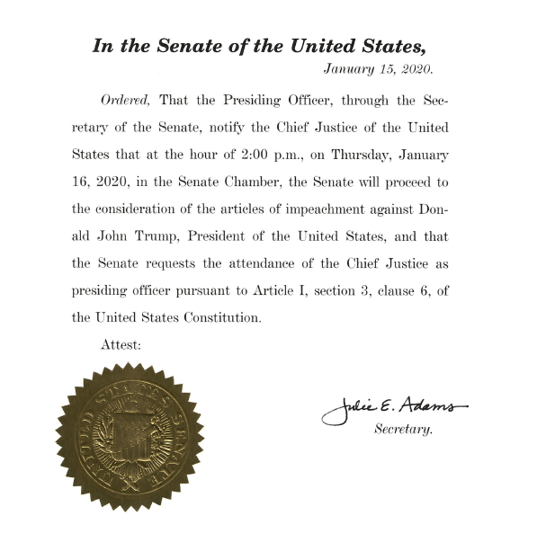 This was hand-delivered to the Chief Justice this morning by the secretary of the Senate