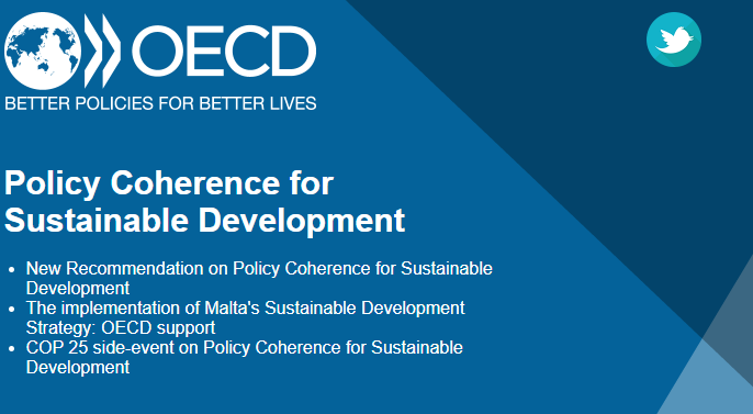 Check out this month's Newsletter including the #OECD Recommendation on Policy Coherence for Sustainable Development, our support to Malta's Sustainable Development strategy and our event at #COP25:  http:// newsletter.oecd.org/q/1HPO5ZUiiE7n hmmn3Ni8T/wv   … <br>http://pic.twitter.com/bKFwvr5N2E