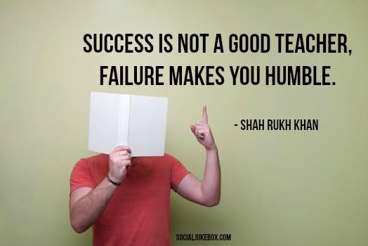 Success is not a good teacher, failure makes you humble.- Shah Rukh Khan #quote #thursdaythoughts <br>http://pic.twitter.com/myE7P8Ppk2