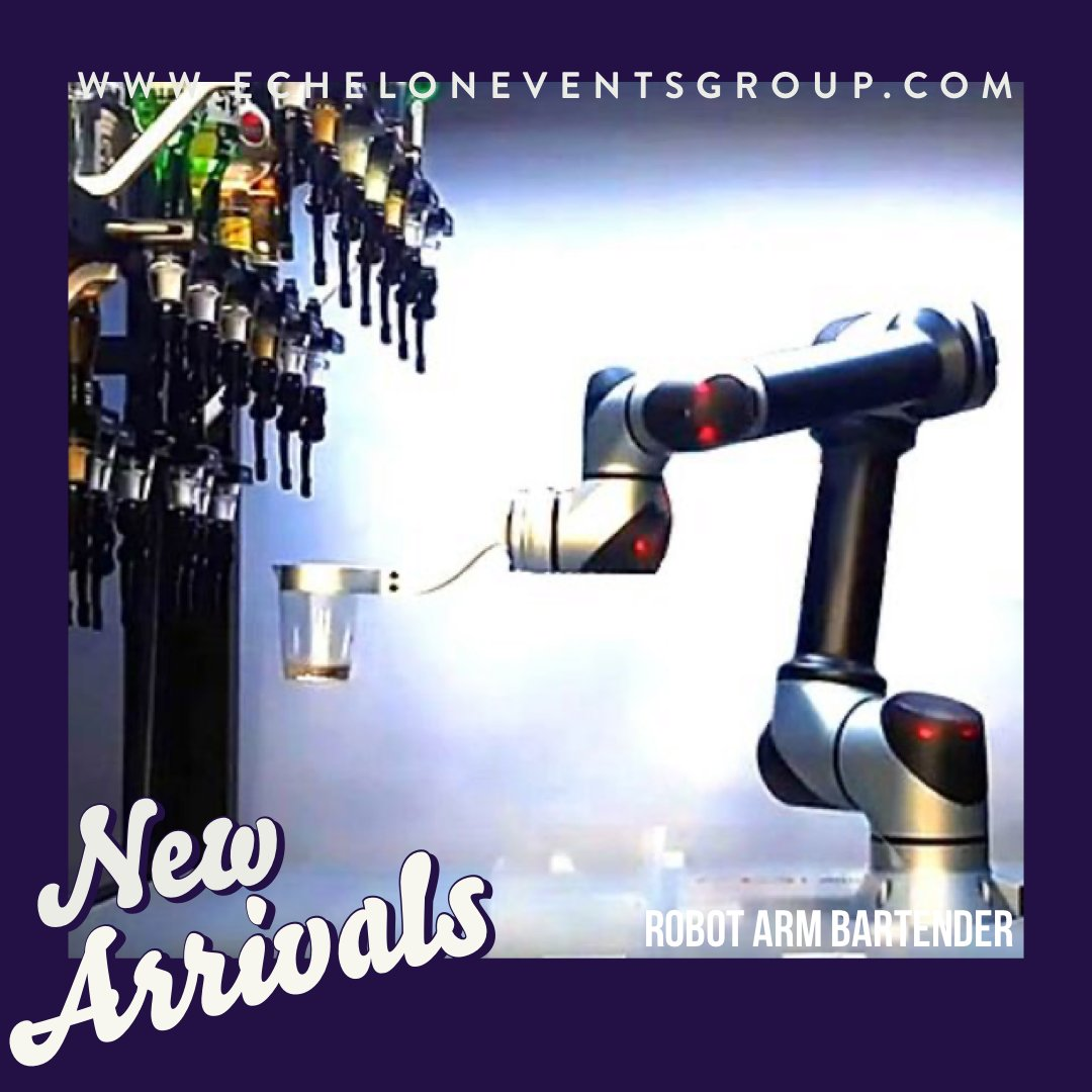 """NEW ARRIVALS: Featuring next-generation robotics, 20 bottles of spirits & wine and a roll-in portable unit, the """"Robot Arm Bartender"""" is a crowd favorite. #eventplanner #eventplanning #corporateeventplanner  #meetingplanner #robotics #robotarmbartender #robotbartender #robotpic.twitter.com/e3RvXg8yWE"""