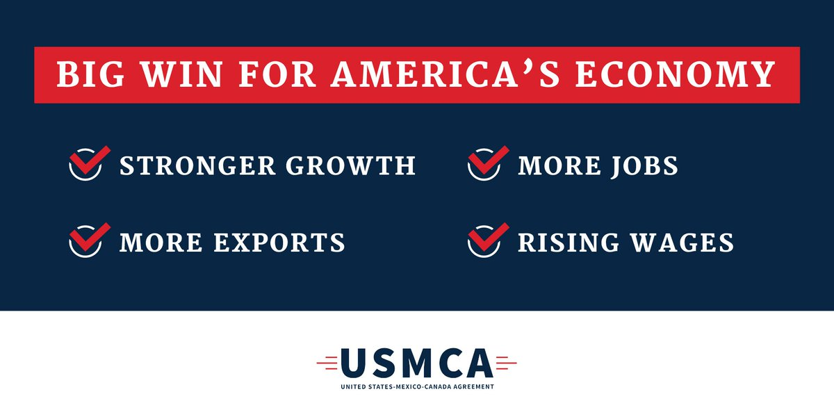 BREAKING: The Senate just passed the USMCA. Next stop: @POTUS's desk for his signature. I'm grateful to the President for prioritizing this deal and delivering on this major promise. It's a big win for Kentucky and for American families in all 50 states.