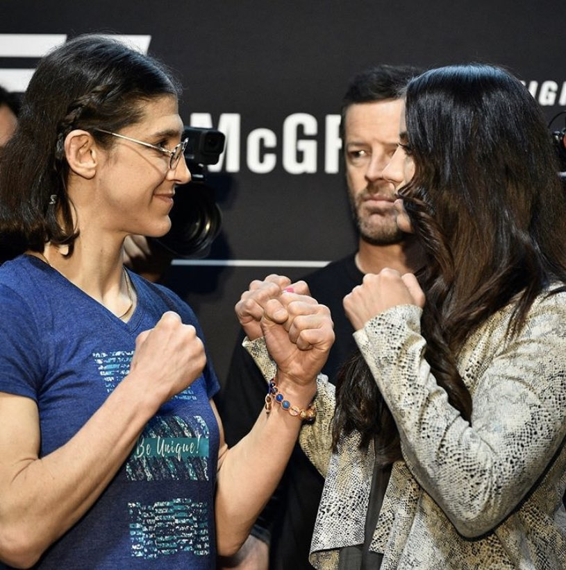 "Roxy: *thinks* Oh gosh, she's taller than I thought... I thought she's shorter... I thought I have a reach advantage wow why whaaaat.... oh she's got heels on.😆"" @ufc #ufc #ufc246"