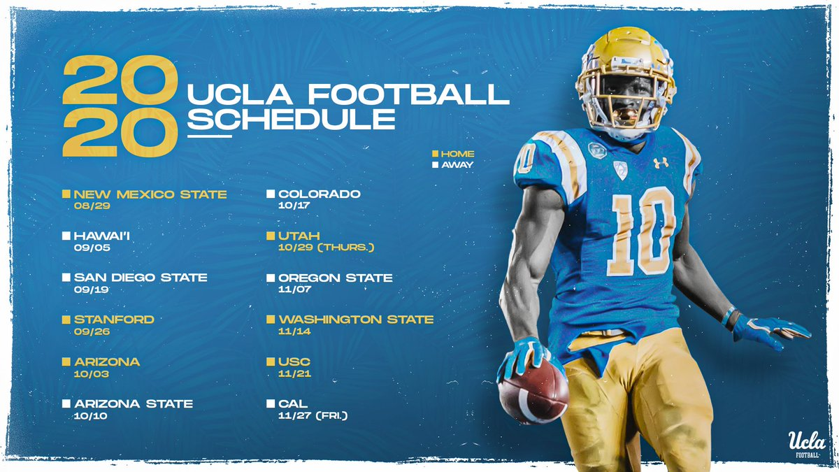 Mark your calendars‼️  The Bruins' 2020 schedule is out and features six home games in the beautiful @RoseBowlStadium.  https://ucla.in/3ajhCQI  #GoBruins