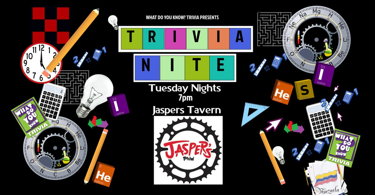 That's right, #TRIVIANIGHT!  TUESDAY from 7-9pm. FREE to play & goodies for the top teams!  Come down, team up, have some drinks  & great food , and stretch that brain muscle!  Presented by What Do You Know? Trivia http://t.ly/r6O7Xpic.twitter.com/2JtHrprZLt