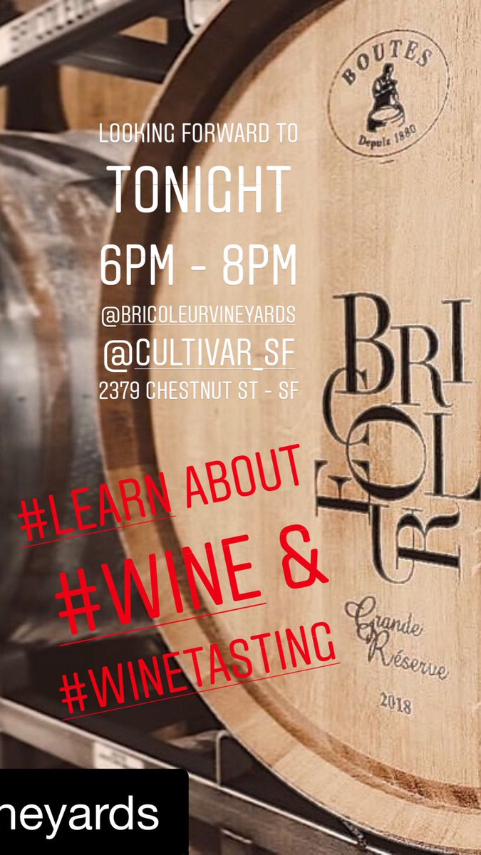 TODAY! from 6pm -8pm #bricoleurvineyards will be pouring their #wines at #CultivarSF! Come and meet them & taste their wines! #winetasting #wineoclock #thirstythursday #zinfandel #pinotnoir #chardonnay #brut #flyingbytheseatofourpants #sonomawine #bricoleur #tonightpic.twitter.com/hqoG68CRqX