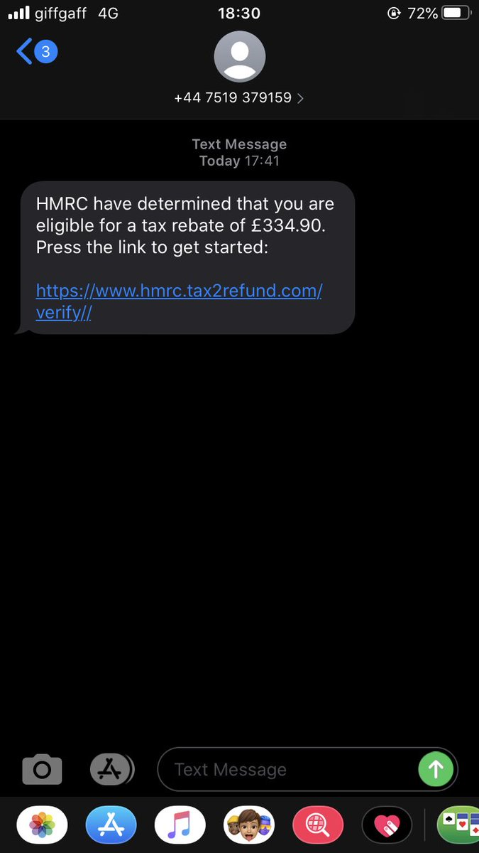 @HMRCcustomers just getting these false messages, so you are aware of the scam: