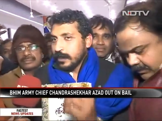 Watch   Chandrashekhar Azad, Bhim Army Chief, released from the Tihar jail a day after he was given bail by a Delhi court. #CAA #CAAProtests #CitizenshipAmendmentAct