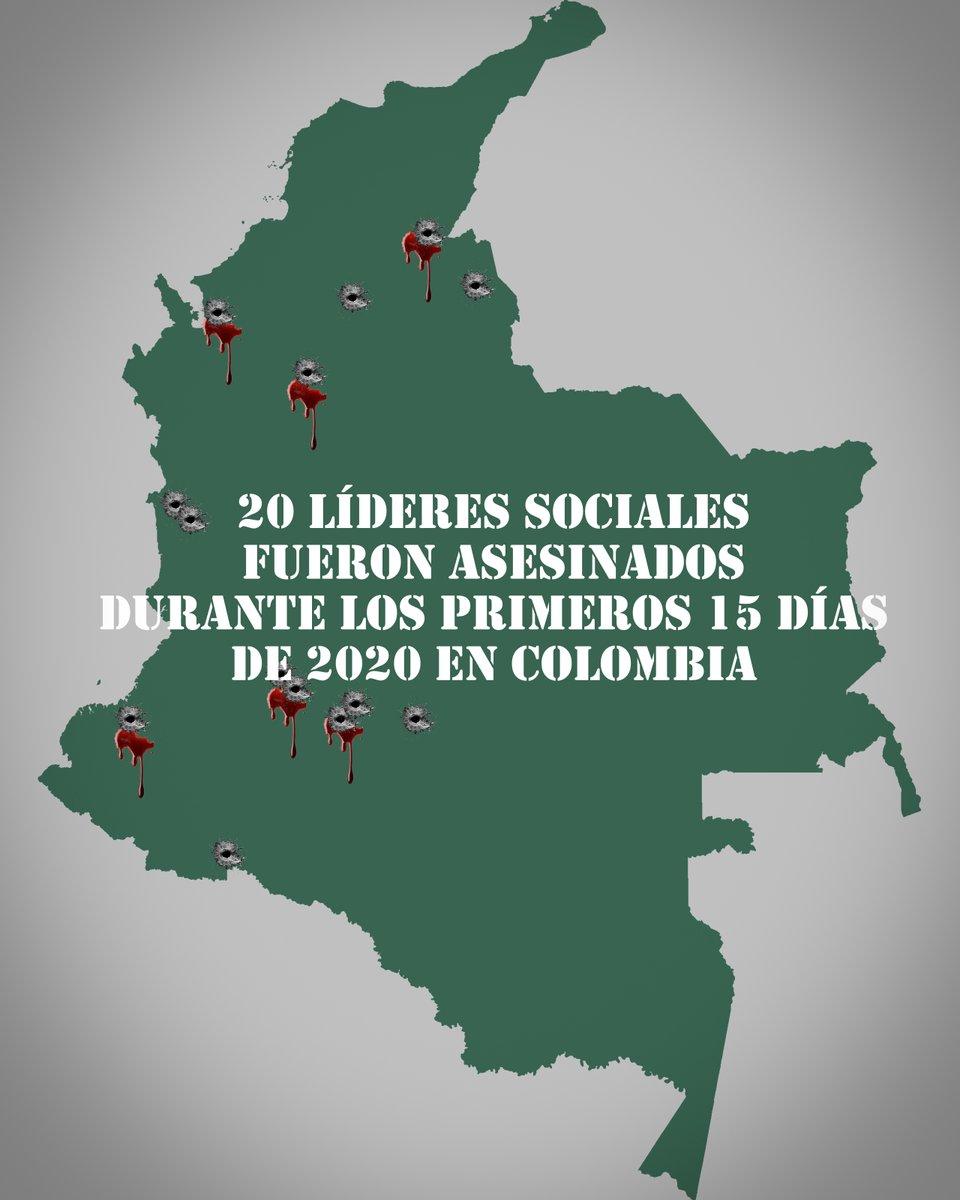 En Colombia, 20 líderes defensores de DD.HH. han sido asesinados durante los primeros 15 días de este año
