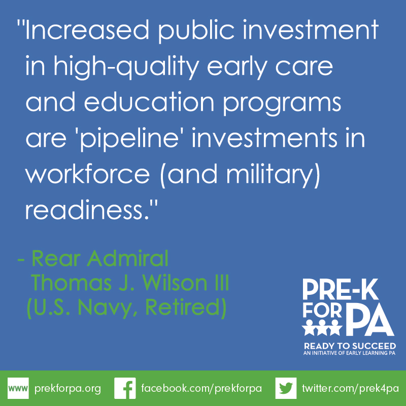 High-quality early education is a pipeline investment in workforce and military readiness. #iamprek #PreKWorks