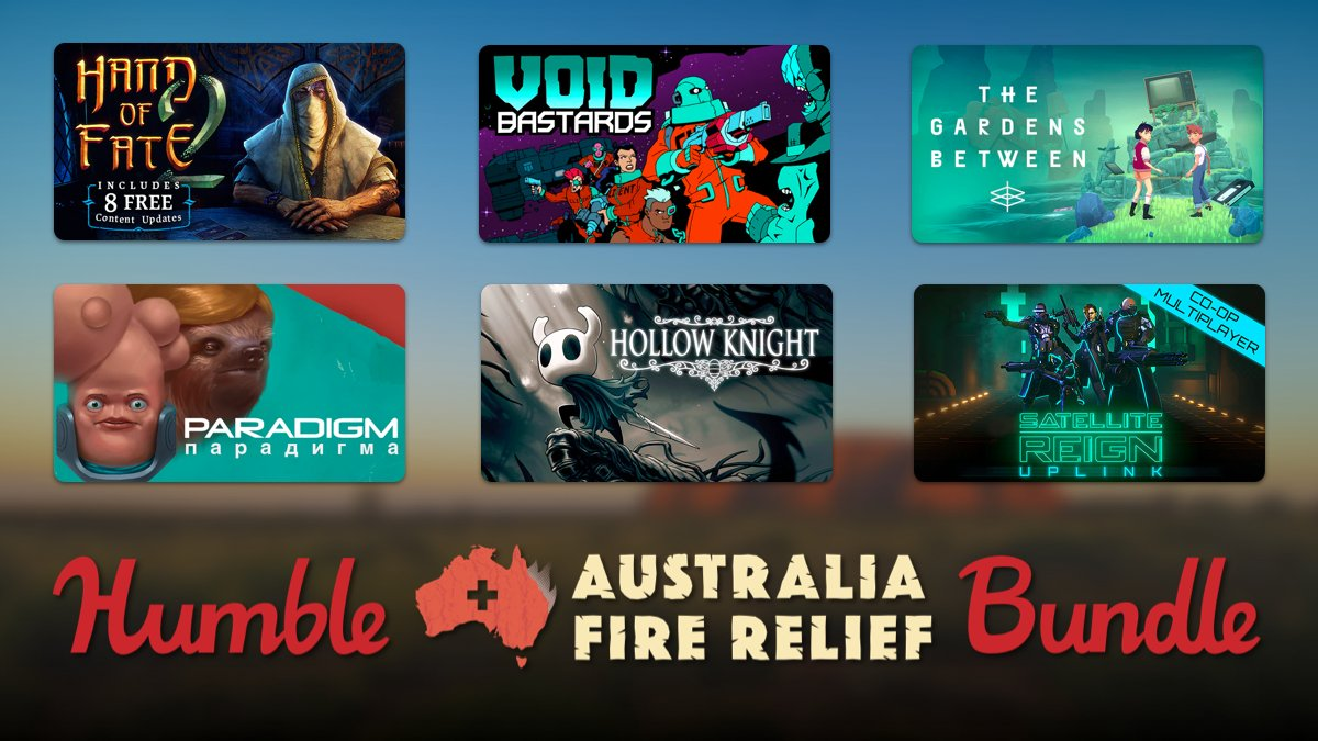 The Humble Australia Fire Relief Bundle has over $400 in incredible games for just $25. 100% of the proceeds go to help the wildlife and animals affected by the Australian bushfires.  https:// bit.ly/361kRch    <br>http://pic.twitter.com/90tjXQdNLh