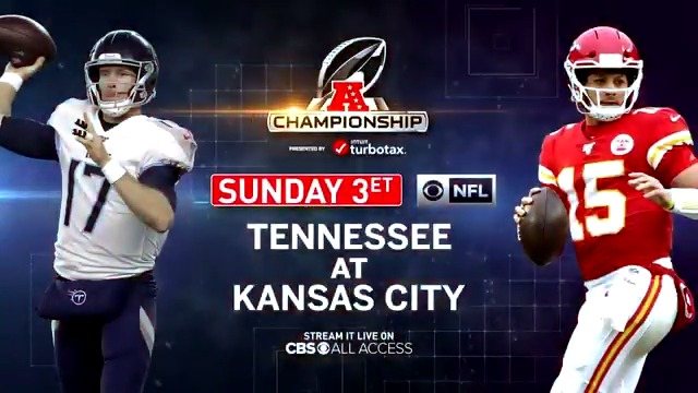 Will the Titans pull off another stunner against Patrick Mahomes and the Chiefs? Stream the AFC Championship live at 3pm ET on @CBSAllAccess. Try 1 week free: http://bit.ly/36lP1I5