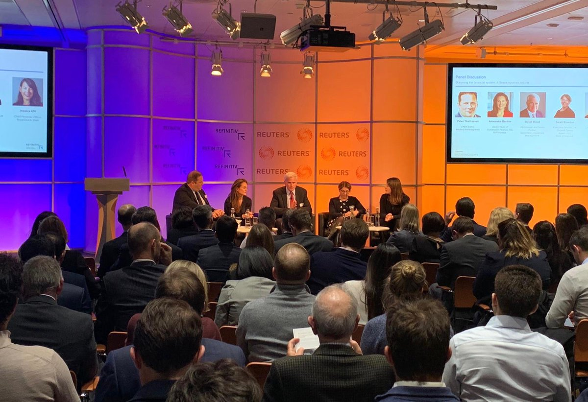 @Breakingviews Predictions London 2020 is underway! Our expert panel are sharing their views on 'Greening the #financial system'. Join the live stream now: https://www.reuters.tv/l/Pdm4 #BVPredicts #Refinitiv