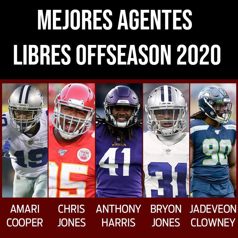 Los 5 mejores agentes libres para esta offseason 2020 en la NFL   ¿Están de acuerdo? #amaricooper #chrisjones #anthonyharris #bryonjones #jadeveonclowney #NFL100 #offseason #freeagentpic.twitter.com/zKuLC9BBJi