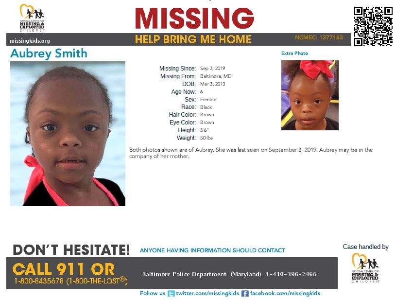 6-year-old Aubrey was last seen on September 3, 2019 in Baltimore, #Maryland. Aubrey may be in the company of her mother.  1377163/1/screen