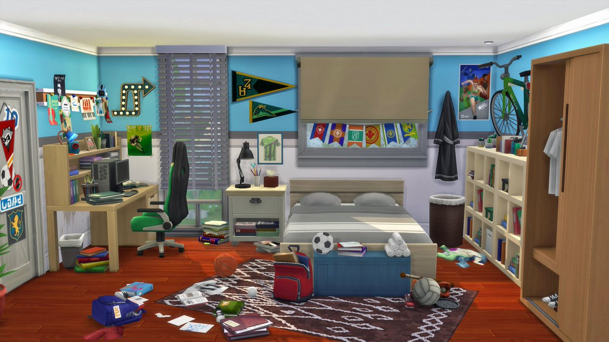 #roominspiration - A bedroom for an athletic teenager. #TheSims4 #ShowUsYourBuilds #TheSimspic.twitter.com/vVq67HaOjT