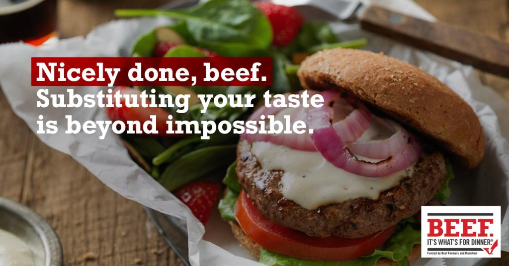 Plant-based burgers can have up to 22 ingredients. Beef is just beef. Period. biwfd.com/2TuGOxL