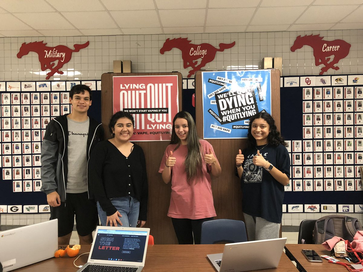 Students @JJPearceHS join thousands across the nation today and ask #BigVape to #QuitLying 🛑 @AHA_Dallas