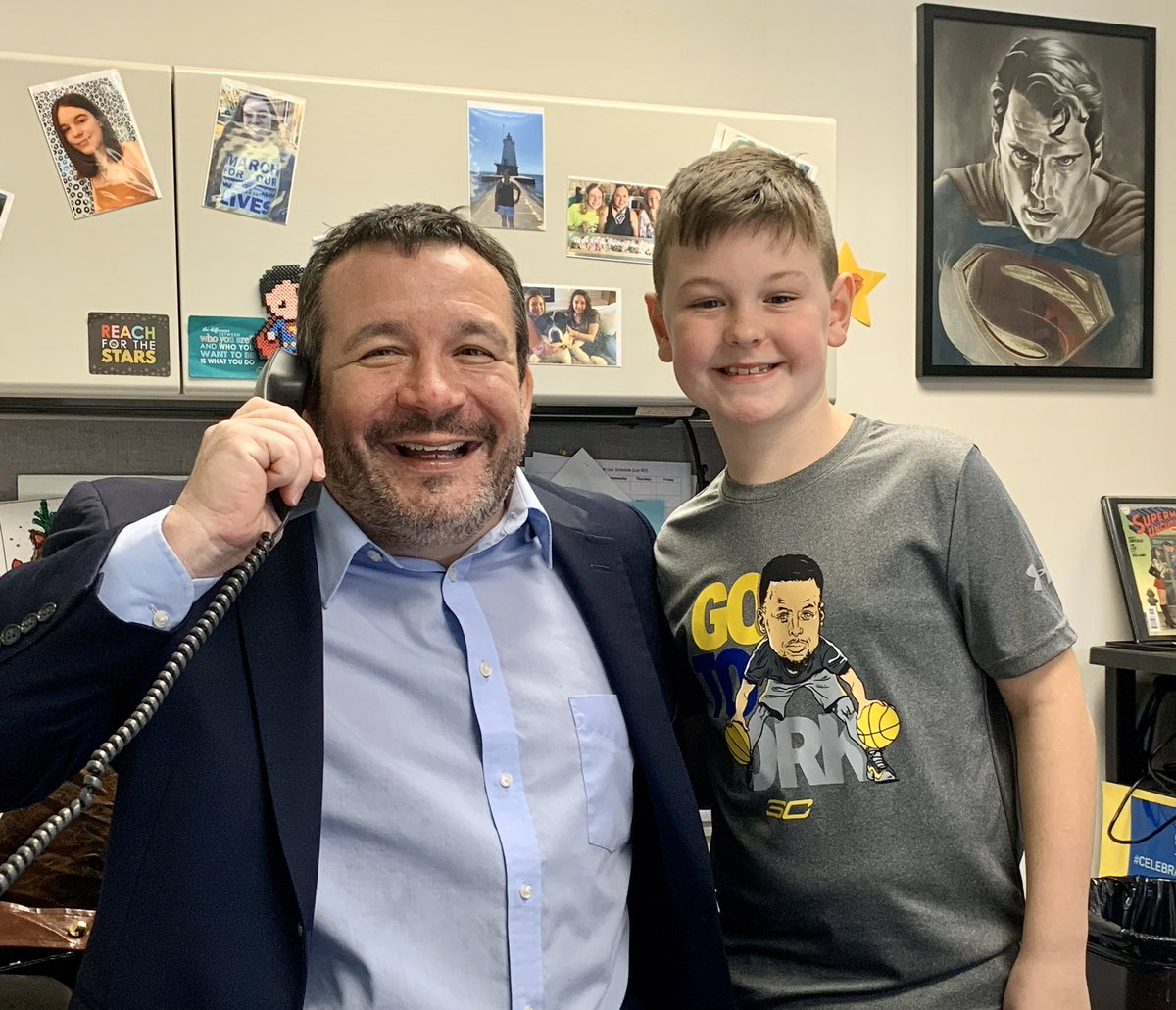 """Congratulations to Nolan in third grade! He was our """"Positive Phone Call"""" for the day! 👍🏼📞 #BuchananBears"""