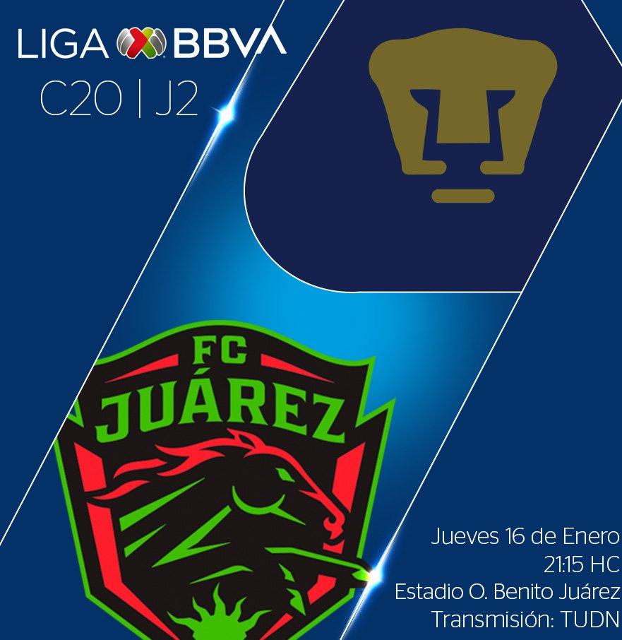 #LigaMXEsta noche arranca la actividad de la segunda jornada del CL2020 con el duelo entre @fcjuarezoficial y @PumasMX .📷 Vía: @LigaBBVAMX