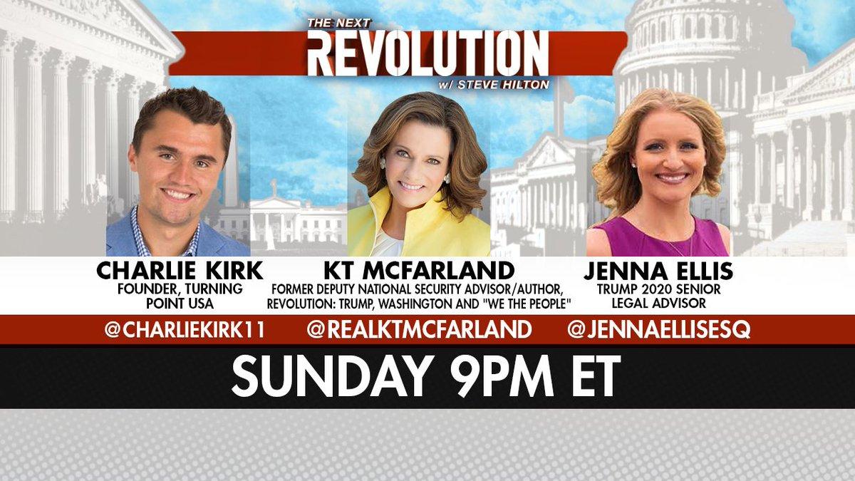 TONIGHT! See @CharlieKirk11, @realKTMcFarland, and @JennaEllisEsq on #NextRevFNC! Tune in at 9pm ET on @FoxNews!