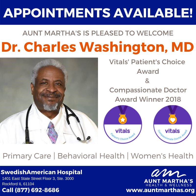 Aunt Martha's Health & Wellness would like to give a warm welcome to our newest Rockford provider, Dr. Charles Washington! Appointments are now available call 877-692-8686 #doctor #rockford #health #wellness #illinois #appointmentsavailable #call #MyAuntM #welcomepic.twitter.com/cKvrfnb4vH