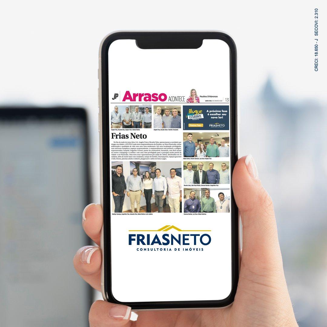 Frias Neto e NP870 são destaques na edição de hoje do Jornal de Piracicaba, com matéria sobre o meeting do novo empreendimento exclusivo na cidade.   #FriasNeto #NP870 #Lançamento #Exclusividade #Imobiliária #Piracicabapic.twitter.com/E1w2Avefnl