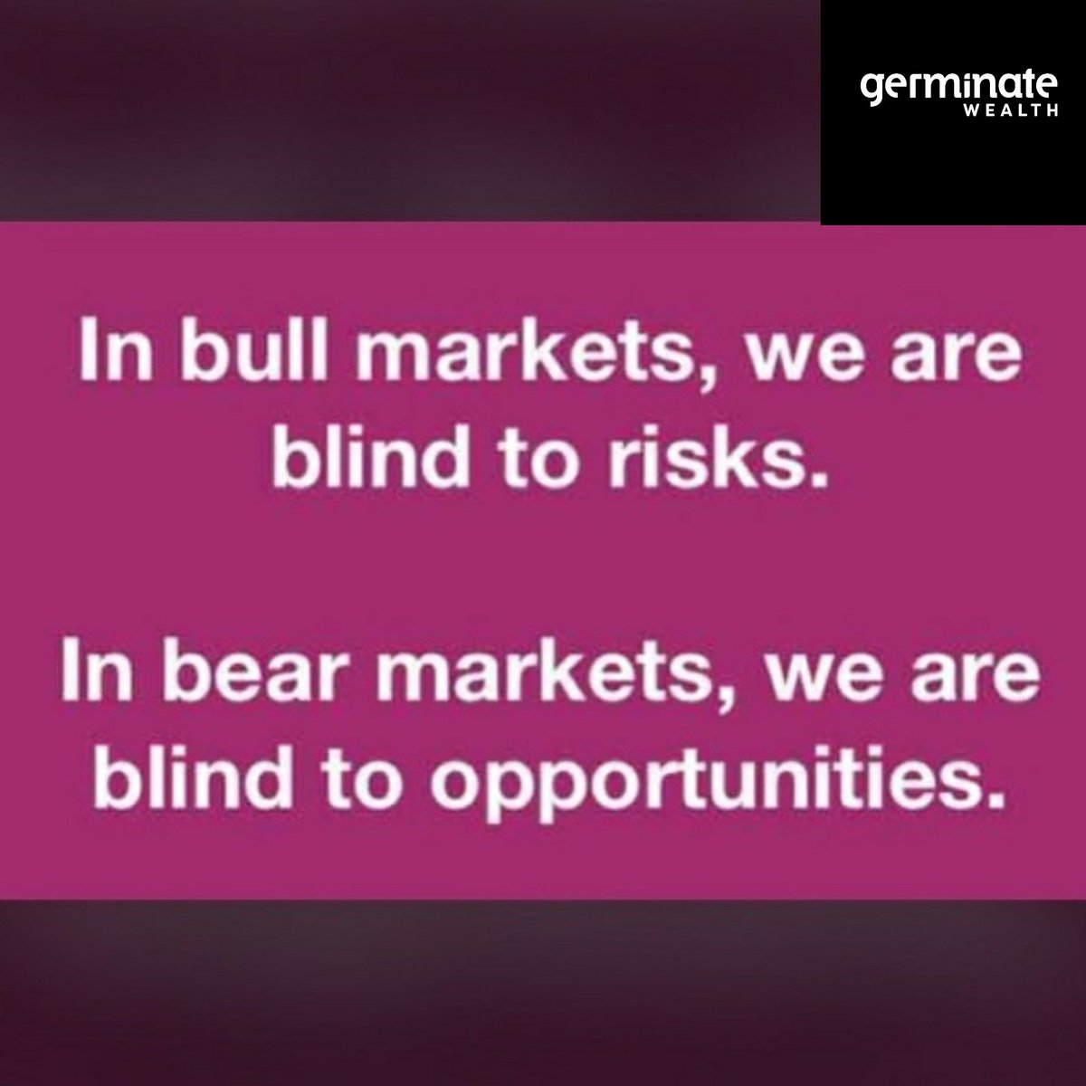 People react differently in a bull market and a bear market.  #germinatewealth #mutualfunds #investmentadvice #financialgoals #advice #investingtips pic.twitter.com/dDW8x4KYOq