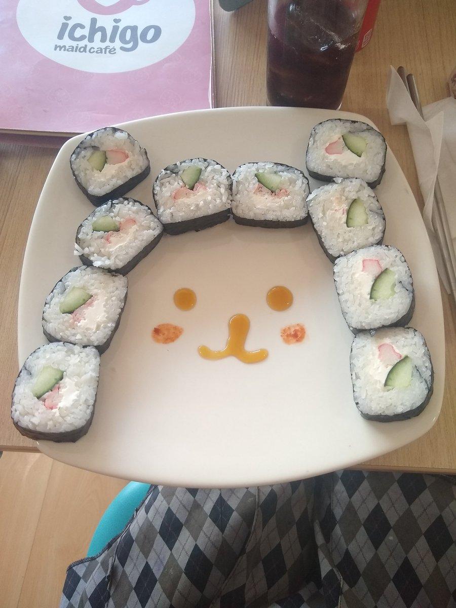 Mi comida de hoy #foodbreak #sushi #kawaiifood #maidcoffee #ichigomaidcafepic.twitter.com/aqL78k3hfD – at Ichigo Maid Café