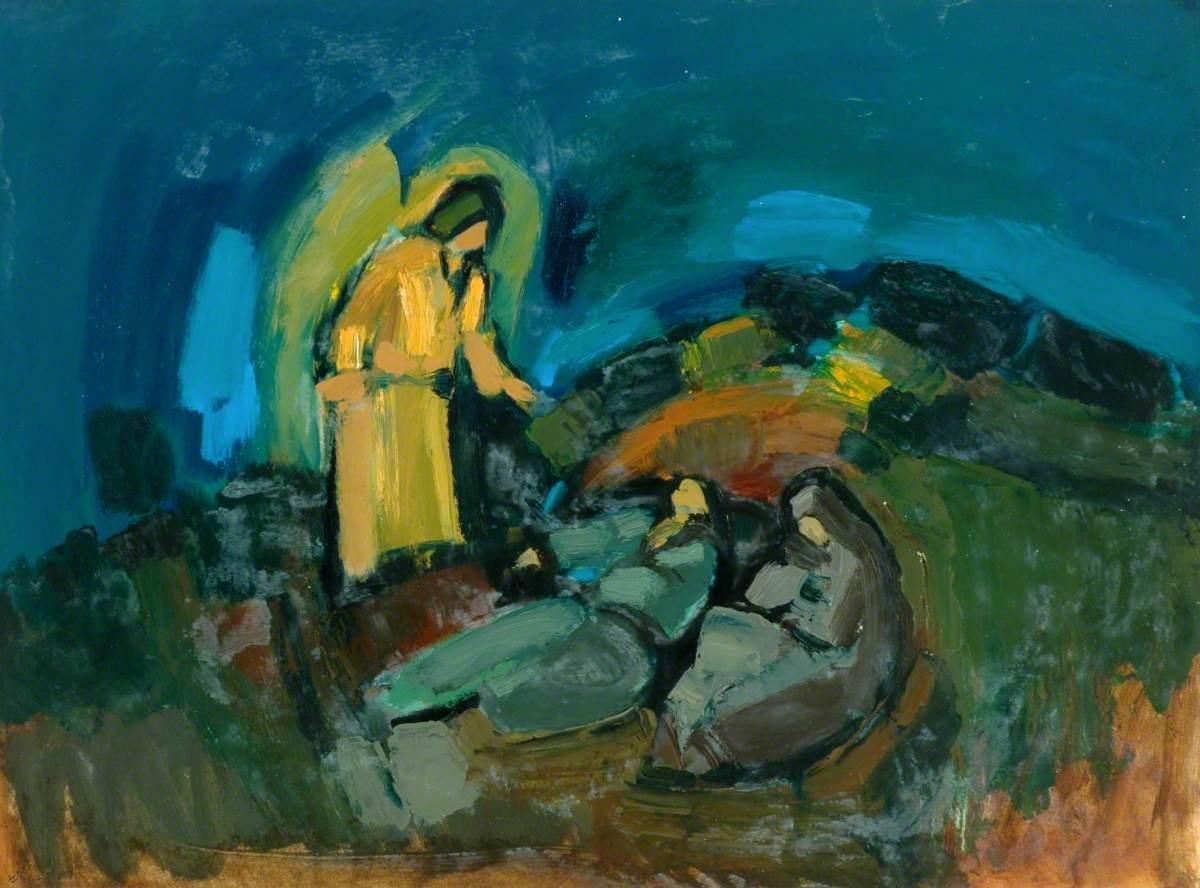 Joseph's Dream by Eric Rimmington (b.1926) #retrospect #apaintingeveryday #DivinityArrived #soulfulart #betweenstories #annunciation #Christmasiscoming #Christmas #Epiphany #adorationpic.twitter.com/41MwVCkyGM