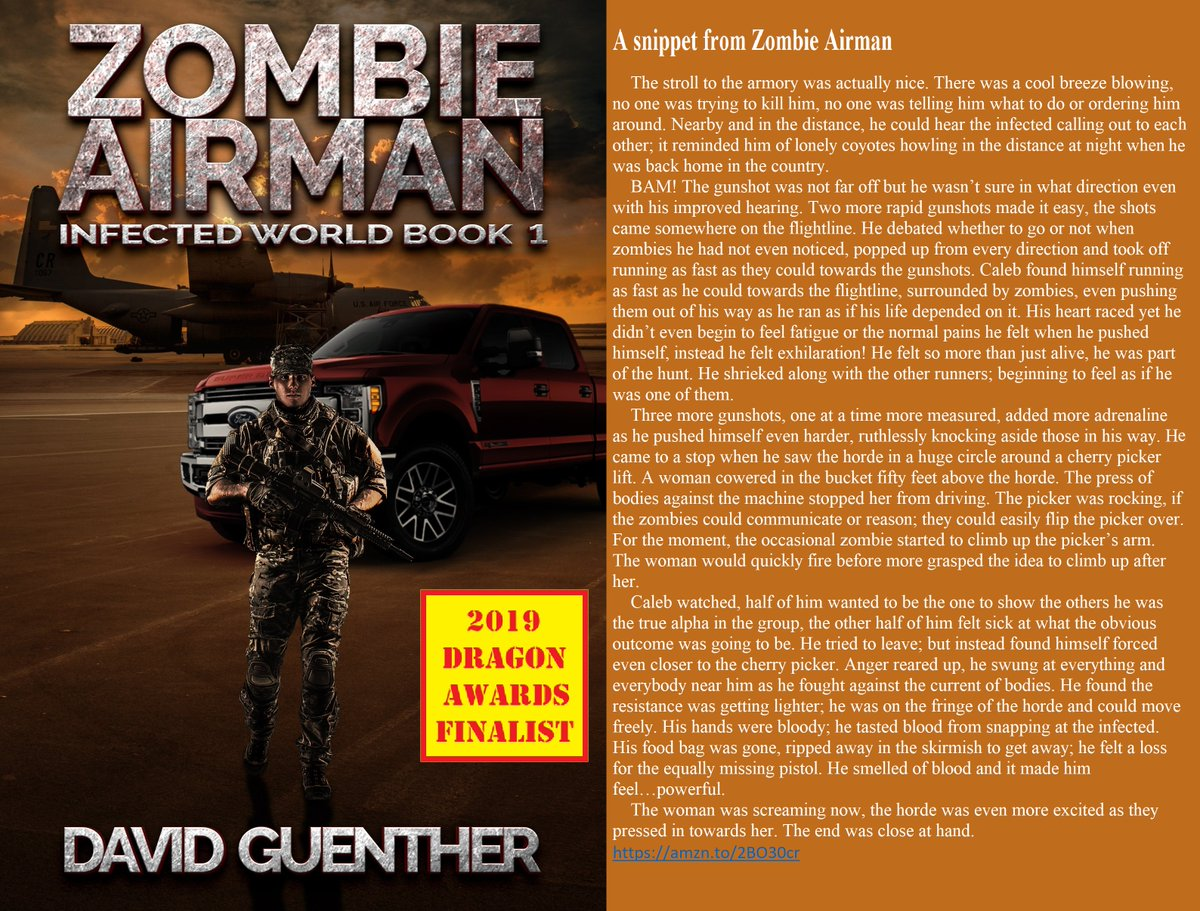 Zombies reinvented, check them out in the 2019 Dragon Awards horror finalist novel ZOMBIE AIRMAN #KindleUnlimited #readers #ScienceFiction #SFRTG #Kindle #War #fiction #Scifi #CR4U #zombiebooks #undead #Audiobook #NewAdult #Fiction #zombiestory https://amzn.to/2T1C3Mppic.twitter.com/72lHZ9QeaU