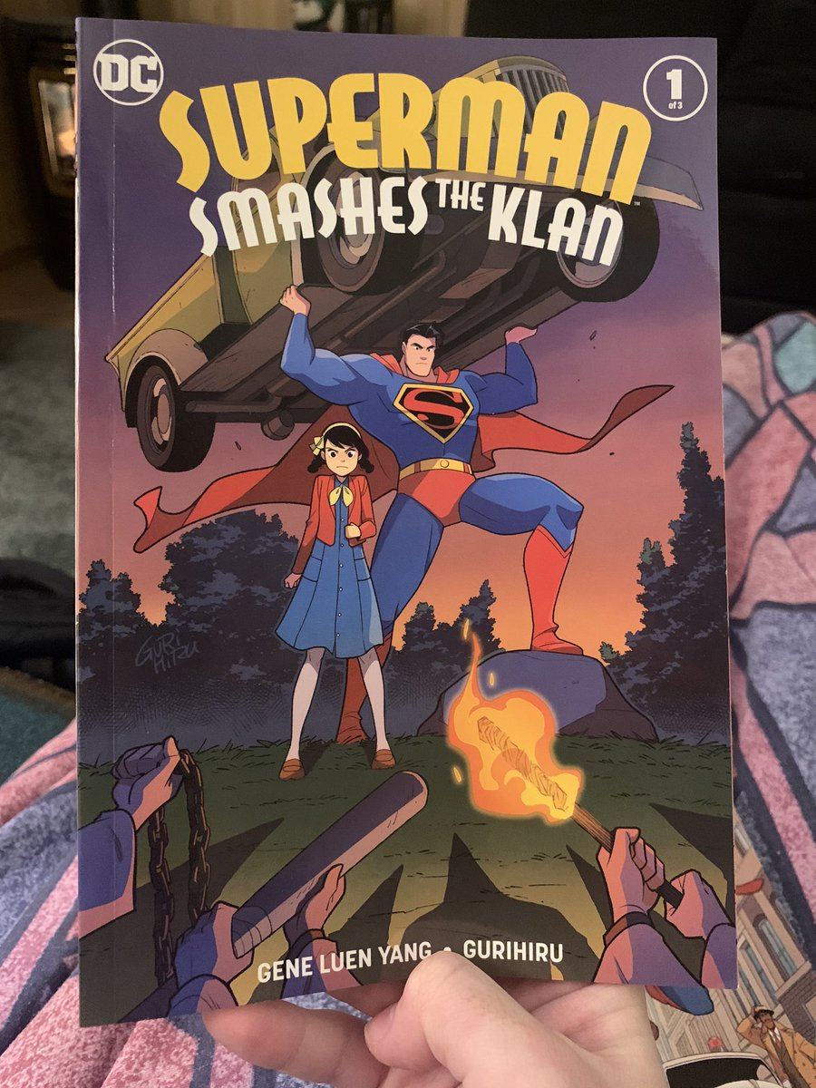 """Finally got around to reading """"Superman Smashes the Klan."""" This series is just great. Set in the '40s and deserves a place on everyone's bookshelf today. Stunning art & a heartwarming, kind story. Written for all ages without tiptoeing around racism. Cant wait for the last book! pic.twitter.com/9Z8ECr6GZe"""