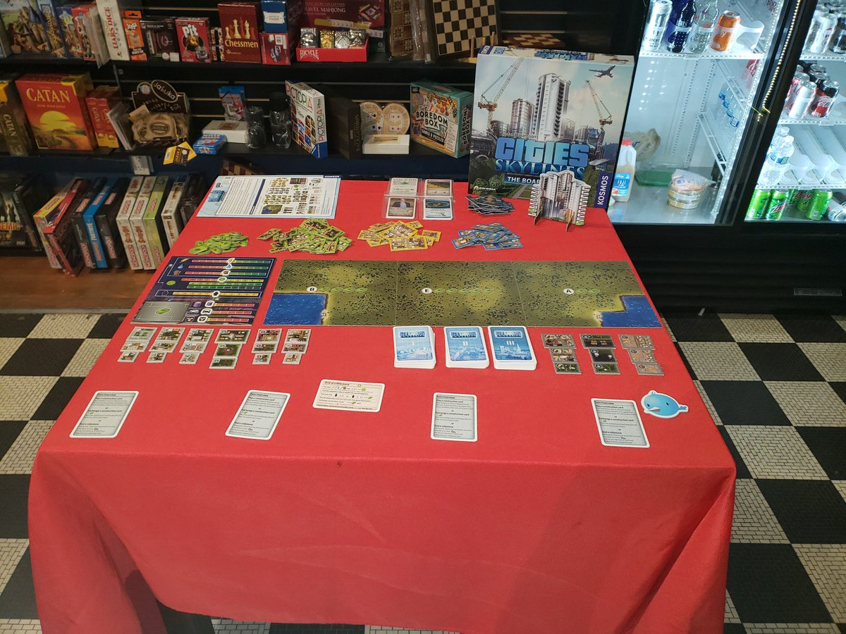 Construction has begun! Come join me for a game of Cities: Skylines, The Board Game at @RedRaccoonGames tonight until 8:30pm. This is a great new co-op game by Kosmos. Try it out! @DexEnvoy https://t.co/AUwz2AXjy8